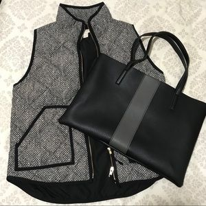 J. Crew Quilted Down Vest in Herringbone Pattern